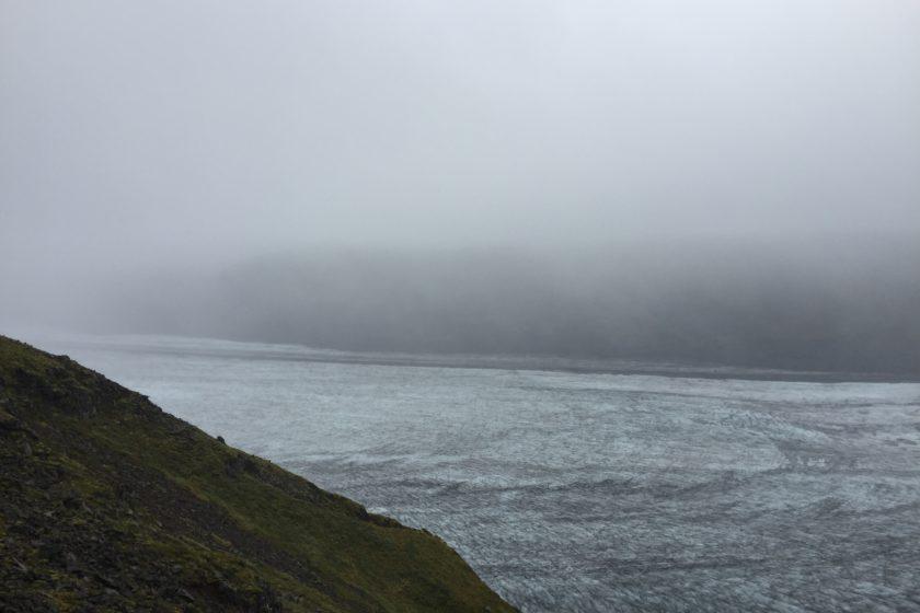 Skaftafellsjökull glacier in fog