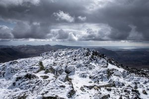 Very top of Sca Fell