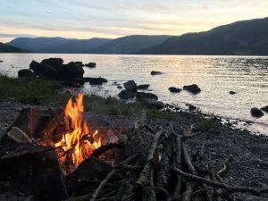Having a bonfire by Loch Earn